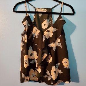 Hint of Blush floral spaghetti strap blouse